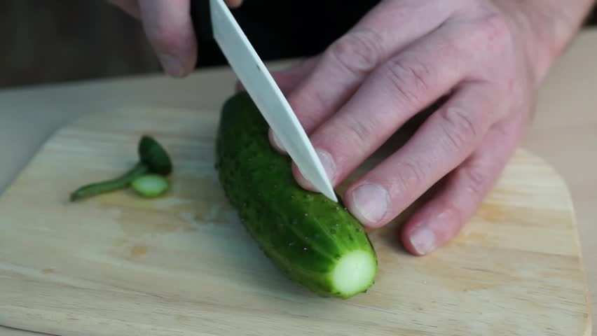 Cutting Cucumber Stock Footage Video 3427472 - Shutterstock