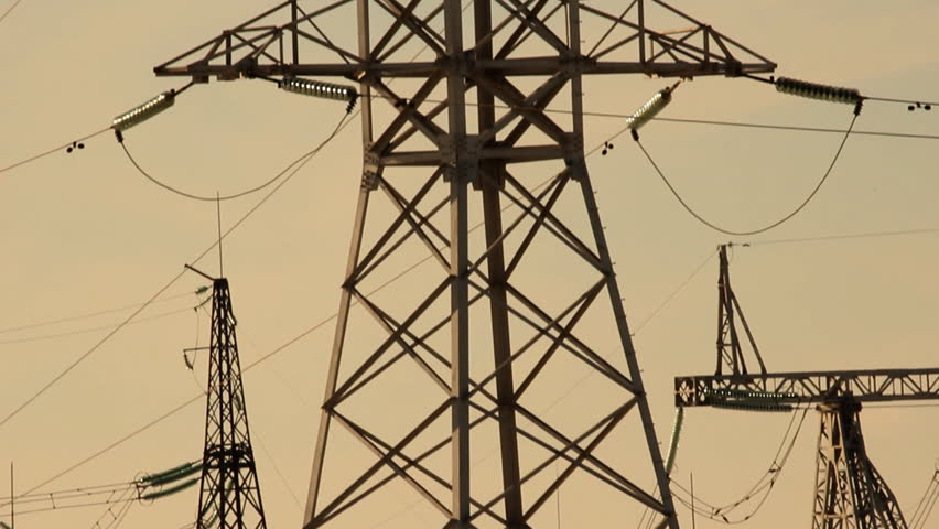 High voltage towers. winter sunset - HD stock footage clip
