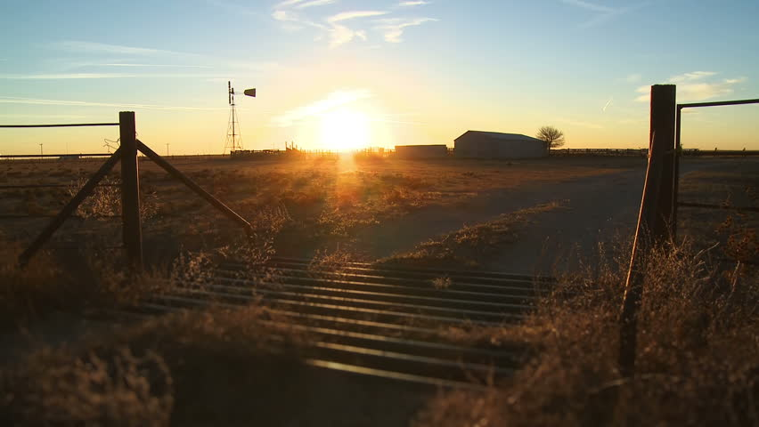 Time lapse sunset on a farm outside of Amarillo, Texas. - HD stock video clip
