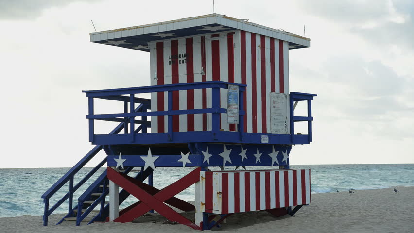 Time Lapse of Life Guard stand on Miami Beach - HD stock video clip