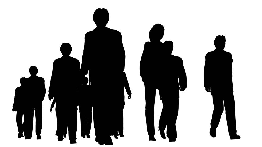 Marching Family Of Four Silhouette Stock Footage Video ...
