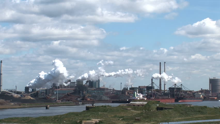 The Industrial Port Of Amsterdam-Chimneys, smoke and pollution - HD stock footage clip