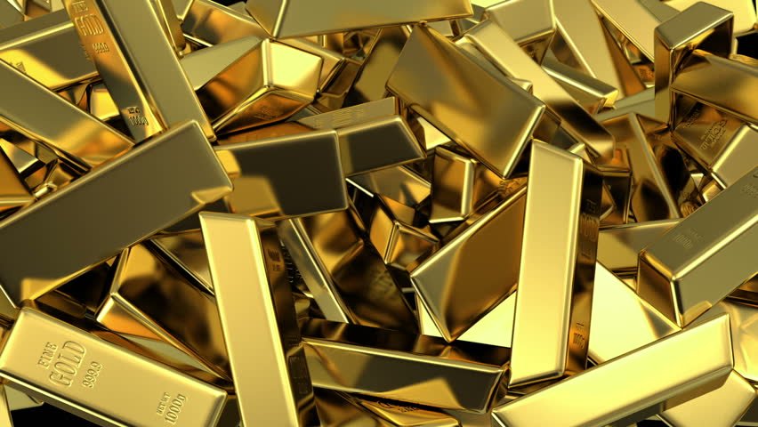 falling gold bars fills the screen, 3d animation with an alpha matte - HD stock video clip