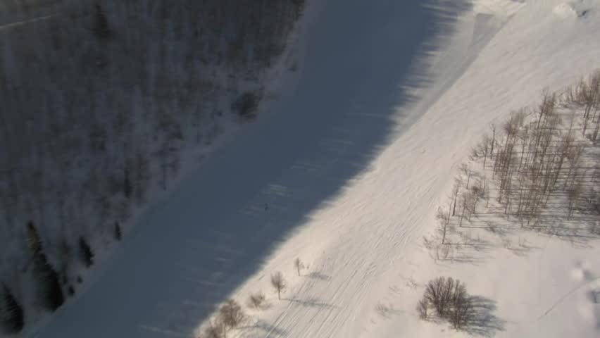Aerial shot of skier | Shutterstock HD Video #3508349