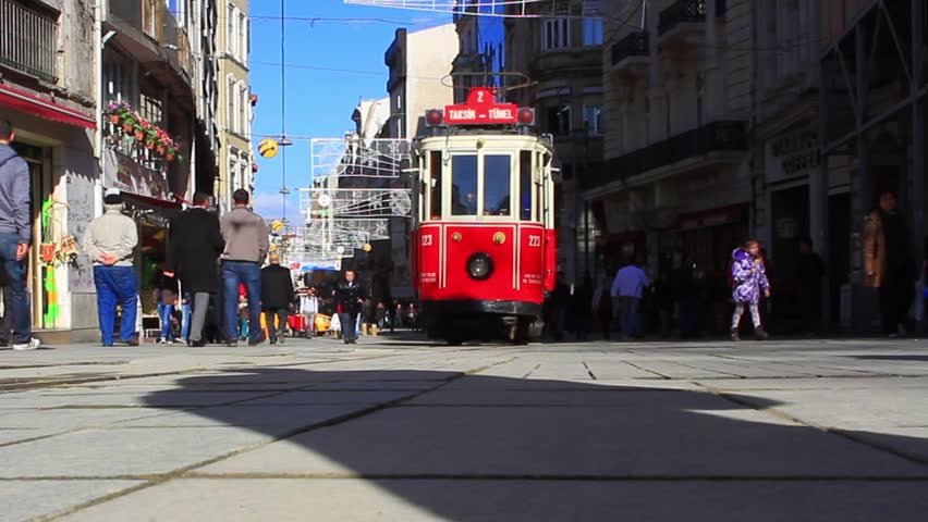 ISTANBUL - JAN 23: Istiklal Street on January 23, 2013 in Istanbul, Turkey.