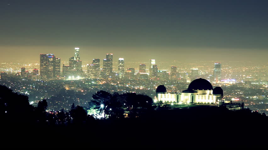 Noctural Time Lapse of Griffith Observatory in Foreground with Downtown LA in the Background | Shutterstock HD Video #3510113