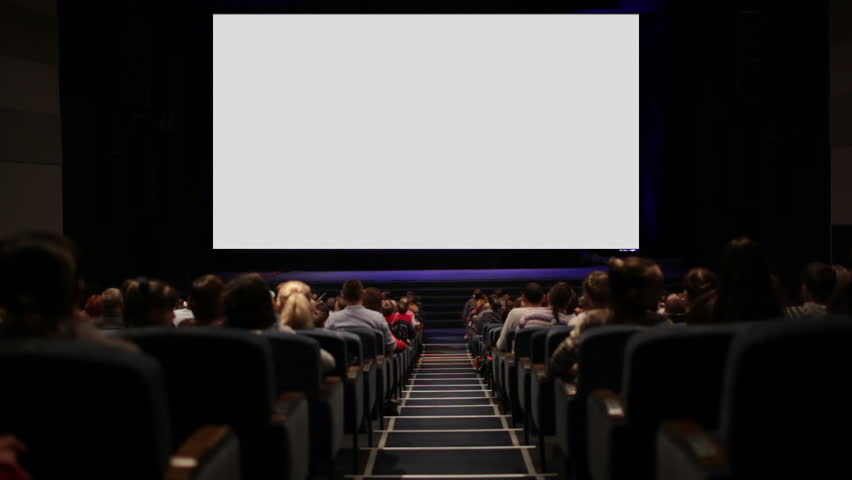 Viewers in the cinema house. Blank Screen.