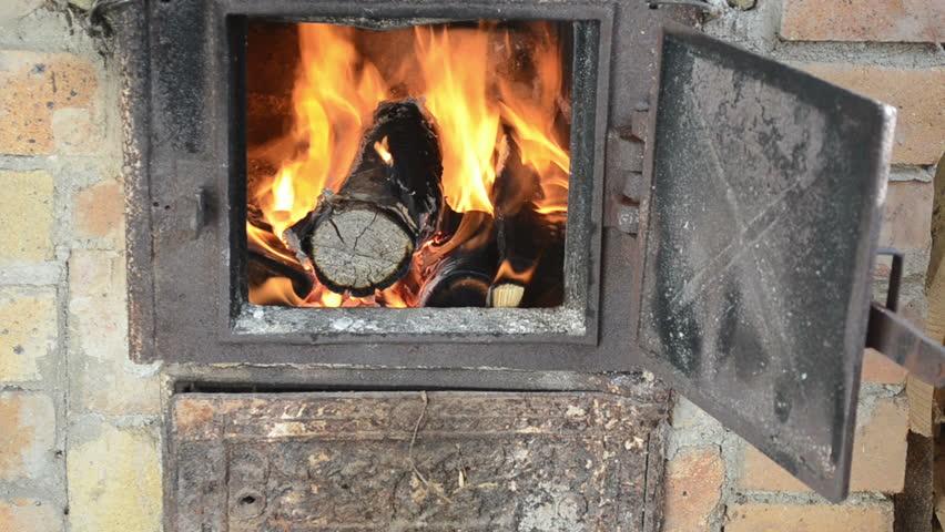 Firewood Wood Burn Fire Retro Old Rusty Rural Kitchen