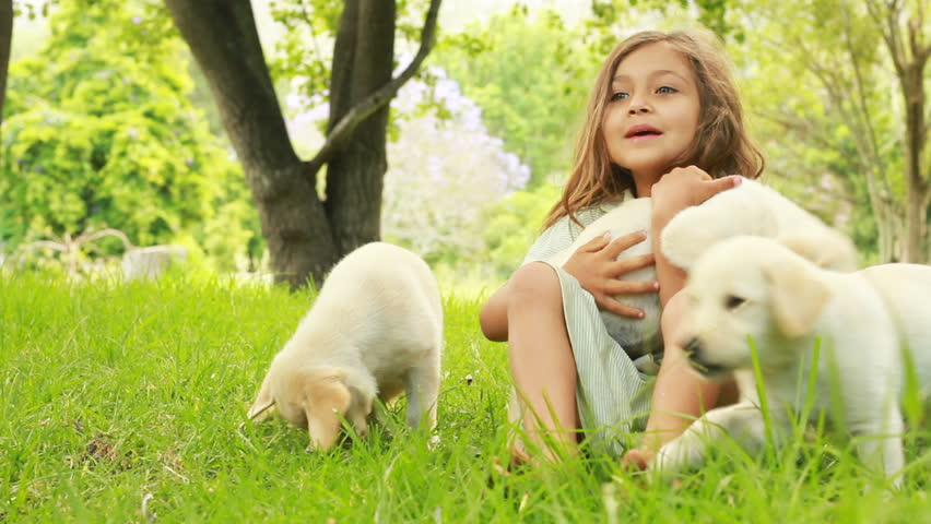 Innocent little girl playing with puppies in the garden.
