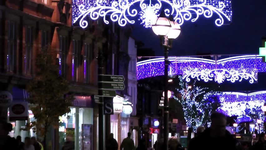Christmas Lights and shoppers - Market Square, Staffordshire, England - HD stock video clip