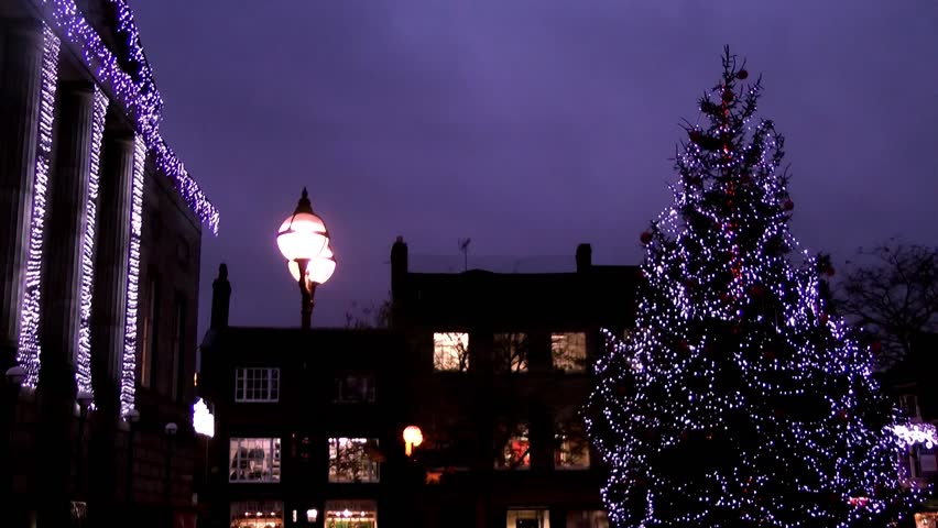 Christmas Tree and Civic Building -  Shire Hall, Market Square, Staffordshire, England - HD stock video clip
