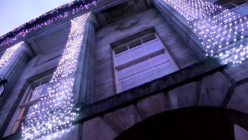 Christmas Lights on Civic Building -  Shire Hall, Market Square, Staffordshire, England - HD stock footage clip