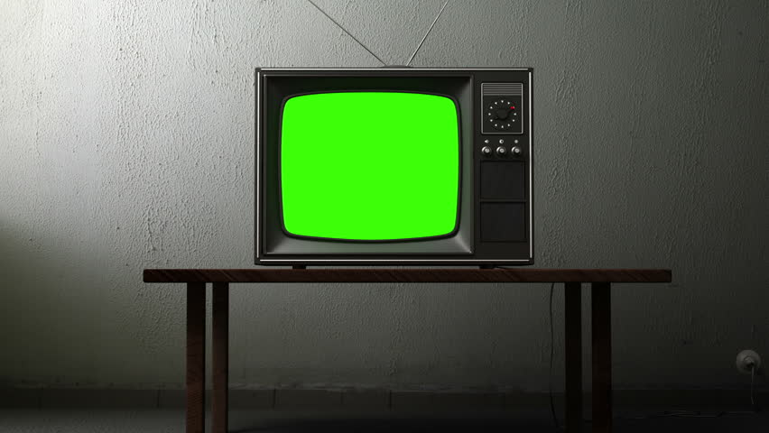 Old TV with a green screen in the room, 3d animation | Shutterstock HD Video #3534197