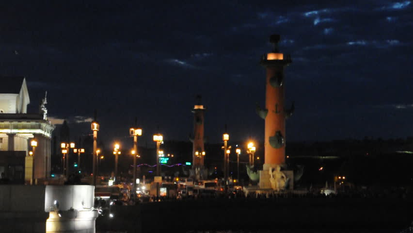 Rostral columns and Spit of Vasilyevsky island. St.Petersburg, Russia. White night. - HD stock footage clip