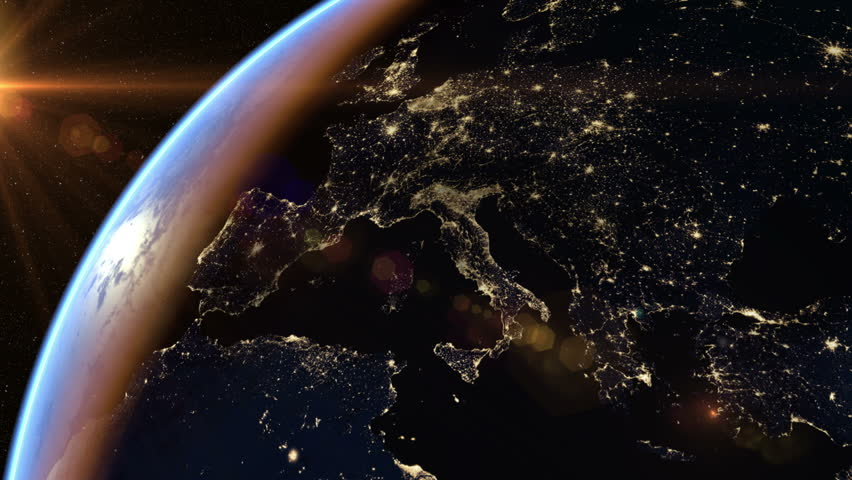 Europe at night. Extremely detailed image, including elements furnished by NASA
