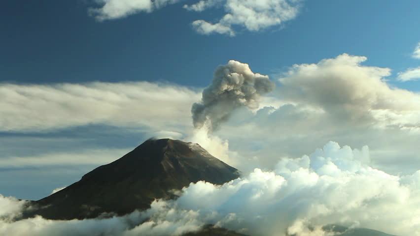 Time-lapse of Tungurahua Volcano erupting, March 2013, Ecuador.  - HD stock footage clip
