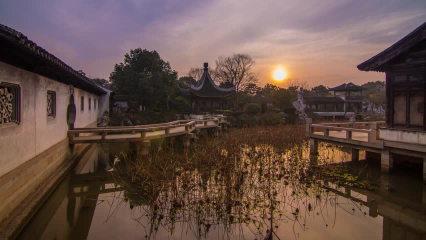 Time Lapse of Sunset in a Old Style Chinese Garden in Muduzhen, Suzhou, Jiangsu, China. Photo Sequence from DSLR camera and Post production in After Effects