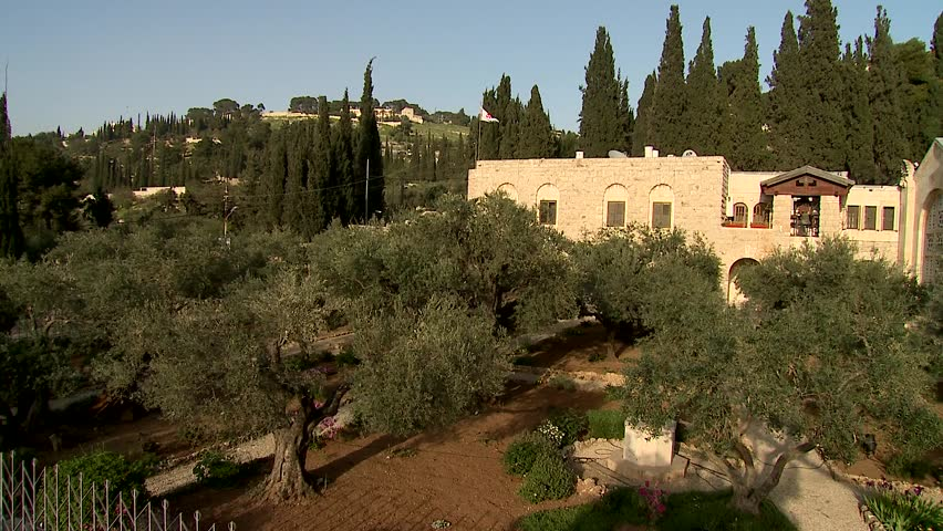 holly olive garden in gethsemane-crane shot