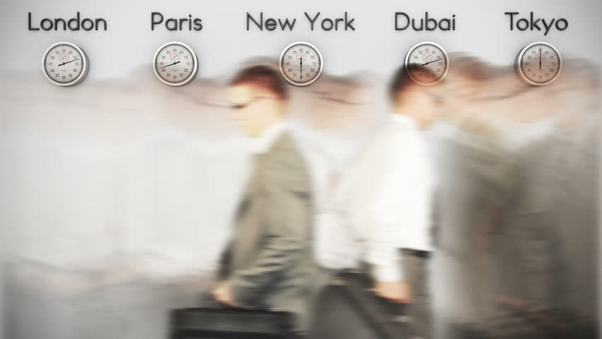 Businessmen Rush Hour with World Clocks on Background, loop