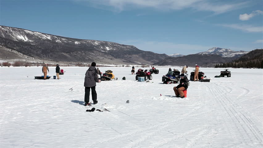 Fish lake utah circa march 2013 boy scout troop ice for Ice fishing videos