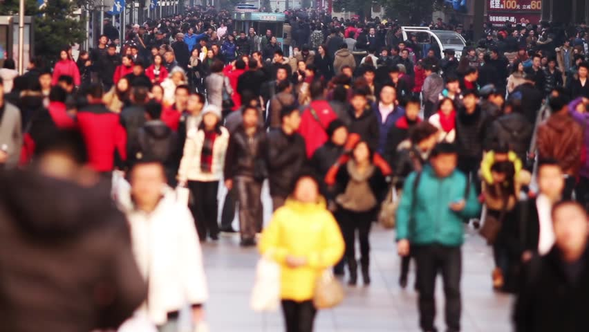 Busy Anonymous Crowd. Traffic on Nanjing Road, Shanghai