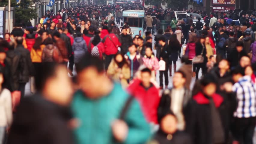 Slow Motion of Busy Crowds Traffic on Nanjing Road, Shanghai, China