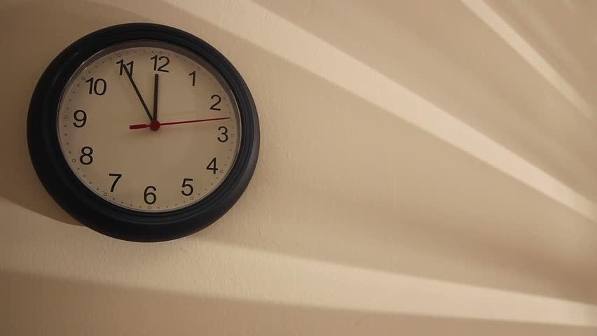 Wall Clock. A Wall Clock Ticking Away, Filmed On The
