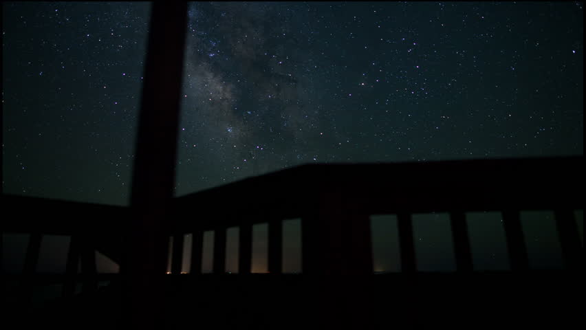 Milky Way Night Sky Star time-lapse with binocular viewer Outer Banks North Carolina