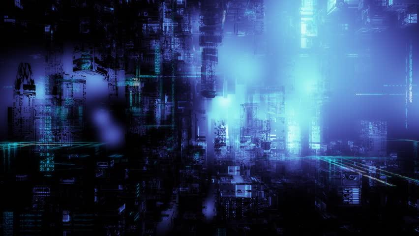 3d flight through cyberspace. Seamless loop.