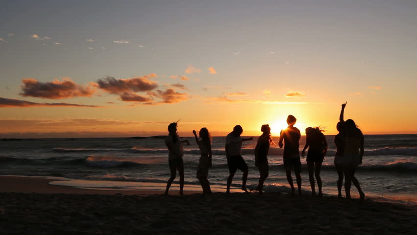 Group Of Young Hipster People Dancing At Beach Party On ...