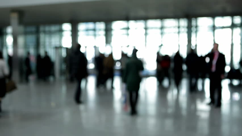 People in enter hall (defocus)  - HD stock video clip