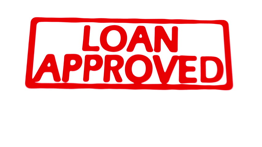 Animated stamp spelling out loan approved in red on loan application