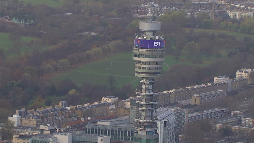 LONDON - NOVEMBER 2012 Aerial view of the B T Tower in London, this famous communications tower has been previously known as the Post Office Tower and London Telecom Tower. London, UK 22 November 2012 - HD stock video clip
