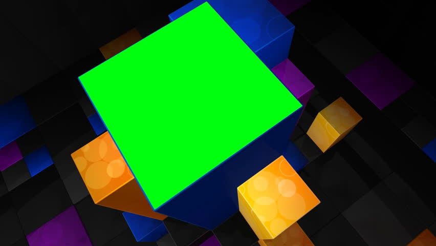 Computer-rendered animation of colorful cubes with green screen