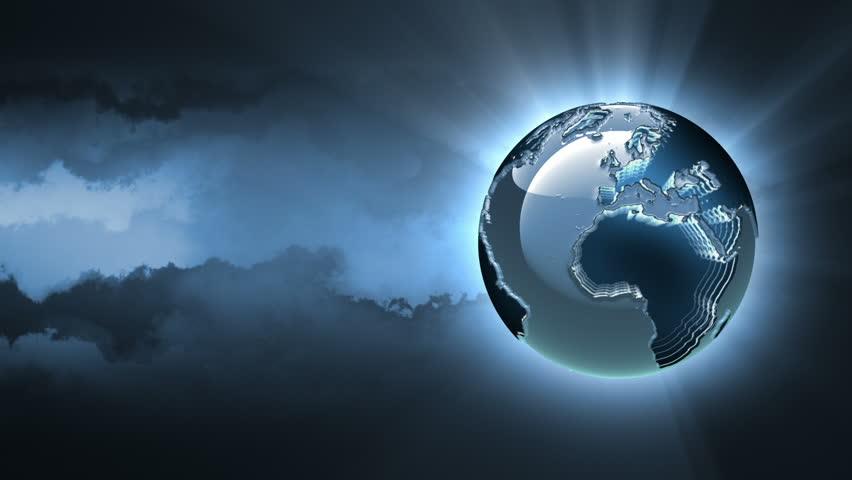 Futuristic 3d silver rotating globe on dark cloudy background. Seamless loop.