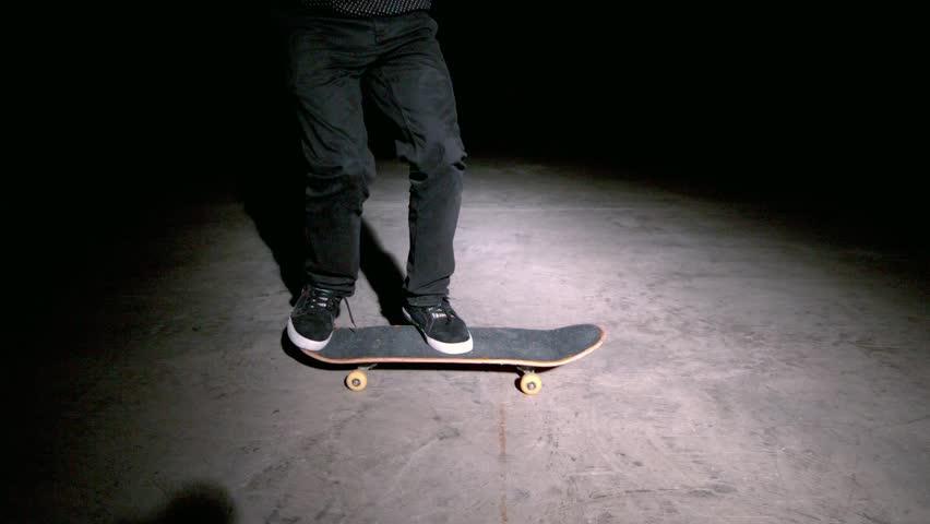 Skater doing double kickflip trick in slow motion - HD stock video clip
