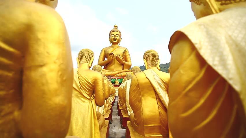 Dolly: Golden Buddha at Buddha Memorial park , Nakornnayok, Thailand, HD 1080P