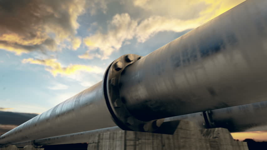 Pipeline transportation is most common way of transporting goods such as Oil, natural gas or water on long distances. Camera is slowly moving along the pipeline. Animation is loopable. - HD stock video clip