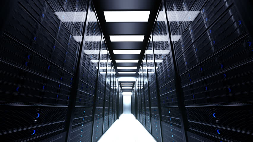 Animation presenting data servers while working. LED lights are flashing. Video can represent cloud computing, information storage, etc. or can be the perfect technology background. | Shutterstock HD Video #3634547