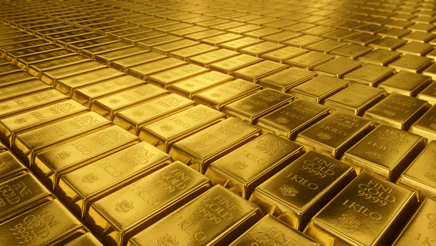 3d Animation Of Stacked Gold Bars Loopable Stock Footage