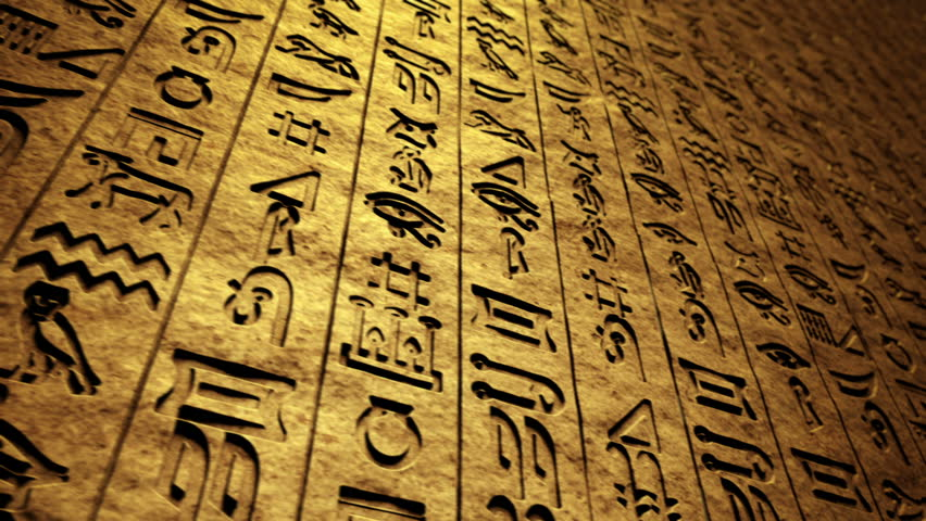 CG footage that presents ancient writings, hieroglyphs on rock wall. Loopable. - HD stock video clip