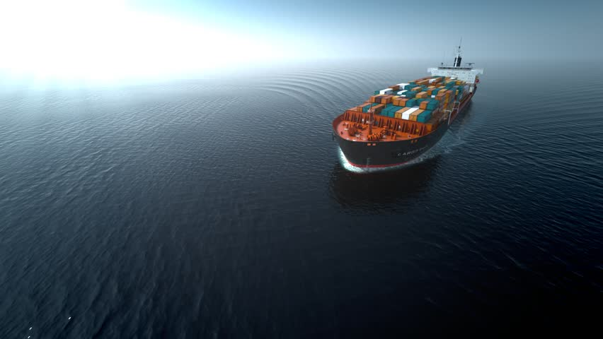 Cargo container ship on the sea animation. Full HD 1080p.