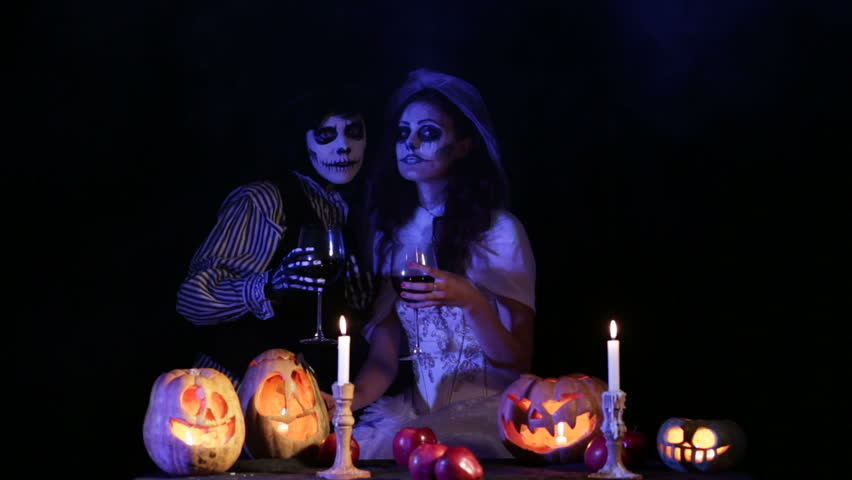 jack and bride say happy halloween to the camera hd stock footage clip - Pictures That Say Happy Halloween