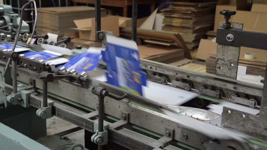 Conveyor Belt of a packaging folding machine on a factory production line