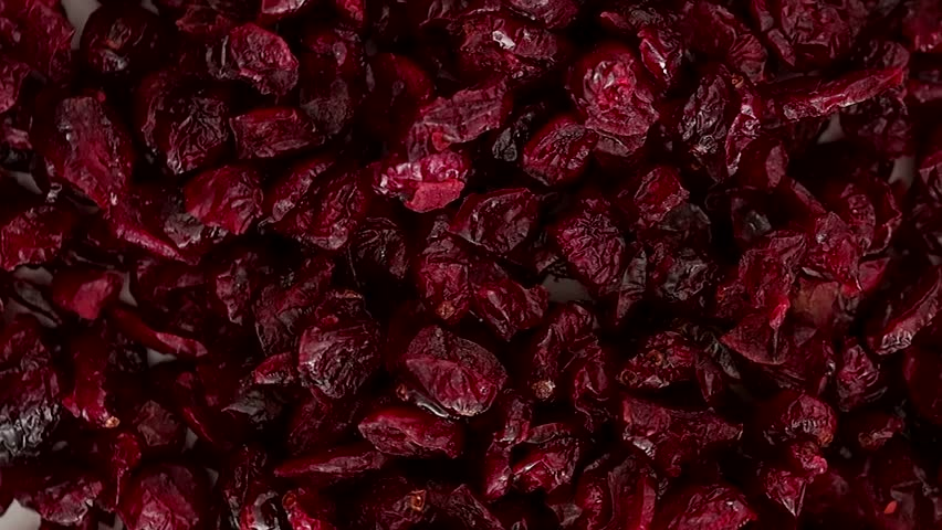 Closeup on rotating dry cranberry