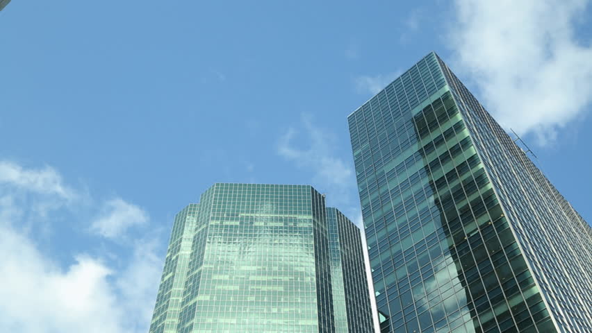 Skyscraper tall office buildings time-lapse  - HD stock footage clip