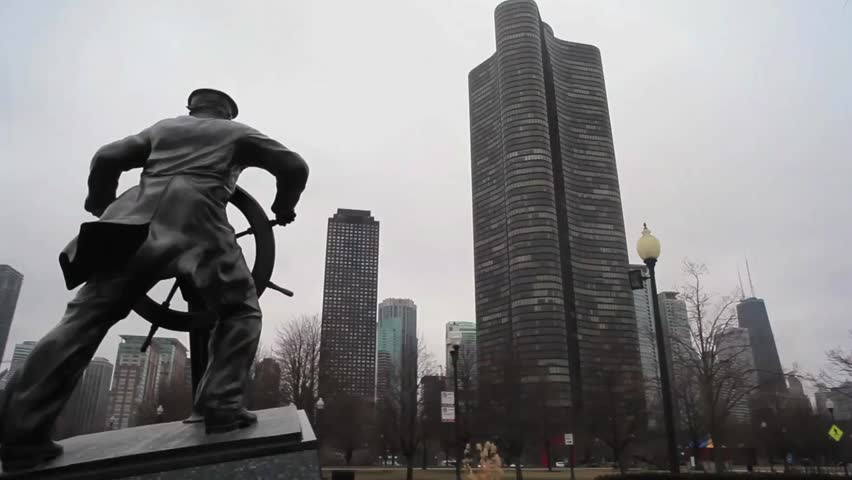Lake Point Tower juxtaposed against a sculpture in Chicago's Navy Pier.