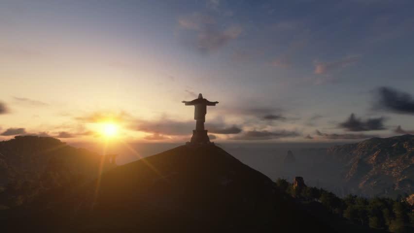 Christ the Redemeer at Sunset, Rio de Janeiro, camera panning