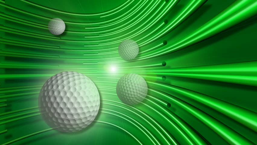 Rotating Golf Balls & Green Tracers - HD stock video clip