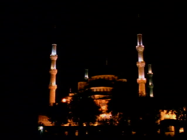 The Blue Mosque of Istanbul at night with four minarets - SD stock footage clip